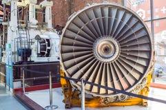 Manchester UK - 04 April 2015 - historisk flygmotor på Mus Arkivbild