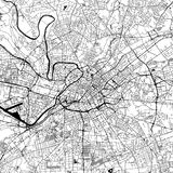 Manchester, UK, Downtown Vector Map. Manchester Downtown Vector Map Monochrome Artprint, Outline Version for Infographic Background, Black Streets and Waterways vector illustration