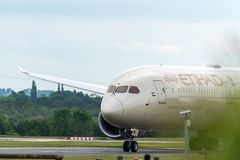 MANCHESTER UK, 30 MAY 2019: Etihad Boeing 787 Dreamliner flight EY21 from Abu Dhabi taxies at Manchaester Airport after landing.  royalty free stock photography