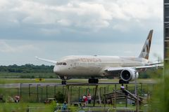 MANCHESTER UK, 30 MAY 2019: Etihad Boeing 787 Dreamliner flight EY21 from Abu Dhabi taxies at Manchaester Airport after landing.  royalty free stock photo