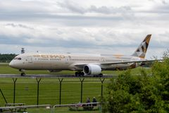 MANCHESTER UK, 30 MAY 2019: Etihad Boeing 787 Dreamliner flight EY21 from Abu Dhabi taxies at Manchaester Airport after landing.  stock image
