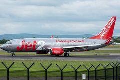 MANCHESTER UK, 30 MAY 2019: Jet2 Boeing 737 flight LS902 from Almeria turns off Runway 28R at Manchester Airport after landing.  royalty free stock images