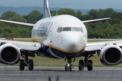 MANCHESTER UK, 30 MAY 2019: Ryanair Boeing 737 flight FR3127 from Marrakech turns off runway 23R at Manchaester Airport after. Landing stock images