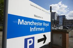 Manchester, UK - 4 May 2017: Sign Outside Manchester Royal Infirmary Hospital Royalty Free Stock Images