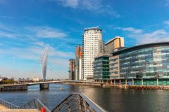 The MediaCityUK in Salford Quays of Manchester England. stock images