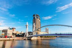 Panoramic view of Salford Quays in Manchester, UK. royalty free stock image