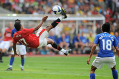 Manchester United Asia Tour 2009. KUALA LUMPUR - JULY 18 : Nani of Manchester United team in action during friendly match against Malaysia at National Stadium Stock Photos