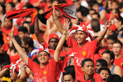 Manchester United Asia Tour 2009. KUALA LUMPUR - JULY 18 : Fan of Manchester United team during friendly match against Malaysia at National Stadium, July 18 Stock Images