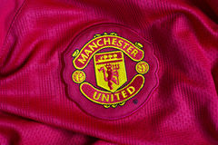 Manchester United emblem. On football jersey Royalty Free Stock Photos