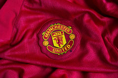 Manchester United emblem. On football jersey Royalty Free Stock Image