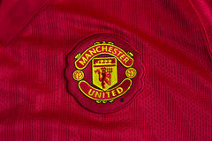 Manchester United emblem. On football jersey royalty free stock photography