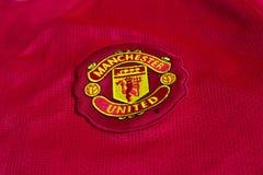 Manchester United emblem. On football jersey Stock Photos