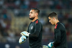 MANCHESTER UNITED FÖR REAL MADRID V: TOPPEN KOPP FÖR UEFA royaltyfri bild