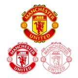 Manchester United F C logotipo com projeto liso e esboço no fundo branco ilustração stock
