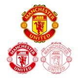 Manchester United F C logotipo con diseño plano y bosquejo en el fondo blanco Imágenes de archivo libres de regalías