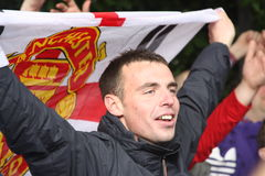 Manchester United fan in Wembley, London. Fans of Barcelona and Manchester United gather round the Wembley stadium in London, U.K. for the final of Champions stock photo