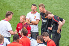 Manchester United after the game. Manchester United's team after the game waiting to talk to their coaches. Tour 2014, Guinness International Champions Cup in stock image