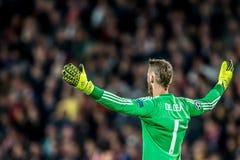 Manchester United Goalkeeper Δαβίδ de Gea με είναι χέρια ευρέως Στοκ εικόνα με δικαίωμα ελεύθερης χρήσης