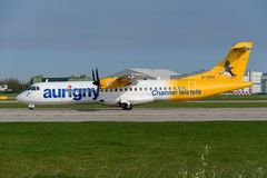 Aurigny airline ATR 72. MANCHESTER, UNITED KINGDOM - APRIL 21st, 2018: Aurigny airline ATR 72 aircraft ready to depart at Manchester Airport Stock Photos