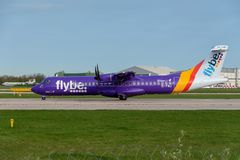 Flybe ATR 72-600. MANCHESTER, UNITED KINGDOM - APRIL 21st, 2018: Flybe ATR 72-600 aircraft ready to depart at Manchester Airport royalty free stock image