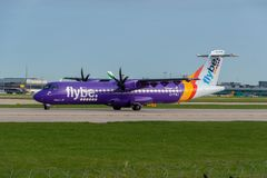 Flybe ATR 72-600. MANCHESTER, UNITED KINGDOM - APRIL 21st, 2018: Flybe ATR 72-600 aircraft ready to depart at Manchester Airport stock photo