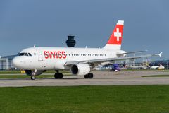 Swiss Airline aircraft. MANCHESTER, UNITED KINGDOM - APRIL 21st, 2018: Swiss Airline aircraft ready to depart at Manchester Airport Stock Photos