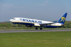 Ryanair Boeing 737 departing Manchester airport. MANCHESTER, UNITED KINGDOM - MAY 07, 2018: Ryanair Boeing 737 departing Manchester airport stock photography