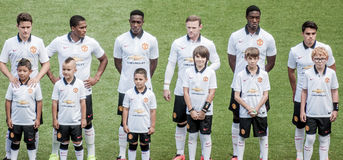 Manchester United Line Up. Manchester United's players lined up before start of the game. I captured this photo at a game in Denver, Colorado where AS Roma Stock Photo