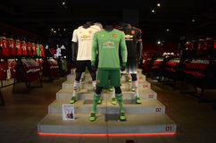 Manchester United Official Shop. Manchester football shirts pictured in Manchester's official shop at Old Trafford stadium Royalty Free Stock Photo