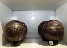 Manchester United Official Shop - Old school football balls Stock Photo