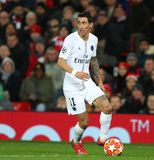 Manchester United v Paris Saint-Germain - UEFA Champions League Round of 16: First Leg. MANCHESTER, ENGLAND - FEBRUARY 12 2019: Angel Di Maria of PSG during the stock image