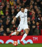 Manchester United v Paris Saint-Germain - UEFA Champions League Round of 16: First Leg. MANCHESTER, ENGLAND - FEBRUARY 12 2019: Angel Di Maria of PSG during the stock images