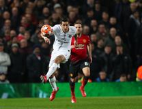 Manchester United v Paris Saint-Germain - UEFA Champions League Round of 16: First Leg. MANCHESTER, ENGLAND - FEBRUARY 12 2019: Angel Di Maria of PSG during the royalty free stock image