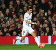 Manchester United v Paris Saint-Germain - UEFA Champions League Round of 16: First Leg. MANCHESTER, ENGLAND - FEBRUARY 12 2019: Angel Di Maria of PSG during the stock photography