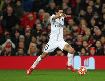 Manchester United v Paris Saint-Germain - UEFA Champions League Round of 16: First Leg. MANCHESTER, ENGLAND - FEBRUARY 12 2019: Angel Di Maria of PSG during the royalty free stock photos