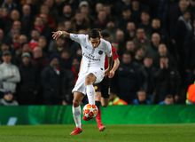 Manchester United v Paris Saint-Germain - UEFA Champions League Round of 16: First Leg. MANCHESTER, ENGLAND - FEBRUARY 12 2019: Angel Di Maria of PSG during the stock photo