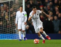 Manchester United v Paris Saint-Germain - UEFA Champions League Round of 16: First Leg. MANCHESTER, ENGLAND - FEBRUARY 12 2019: Angel Di Maria of PSG during the stock photos