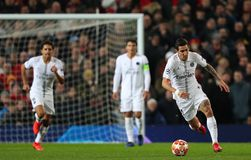 Manchester United v Paris Saint-Germain - UEFA Champions League Round of 16: First Leg. MANCHESTER, ENGLAND - FEBRUARY 12 2019: Angel Di Maria of PSG during the royalty free stock photo