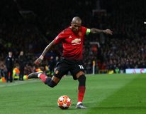 Manchester United v Paris Saint-Germain - UEFA Champions League Round of 16: First Leg. MANCHESTER, ENGLAND - FEBRUARY 12 2019: Ashley Young of Manchester United royalty free stock photography