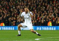 Manchester United v Paris Saint-Germain - UEFA Champions League Round of 16: First Leg. MANCHESTER, ENGLAND - FEBRUARY 12 2019: Dani Alves during the Champions stock photography