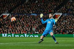 Manchester United v Paris Saint-Germain - UEFA Champions League Round of 16: First Leg. MANCHESTER, ENGLAND - FEBRUARY 12 2019: David De Gea of Manchester United royalty free stock image