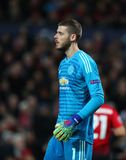 Manchester United v Paris Saint-Germain - UEFA Champions League Round of 16: First Leg. MANCHESTER, ENGLAND - FEBRUARY 12 2019: David De Gea of Manchester United royalty free stock photos