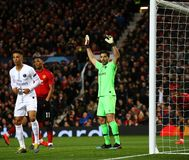 Manchester United v Paris Saint-Germain - UEFA Champions League Round of 16: First Leg. MANCHESTER, ENGLAND - FEBRUARY 12 2019: Gianluigi Buffon of PSG during stock photo