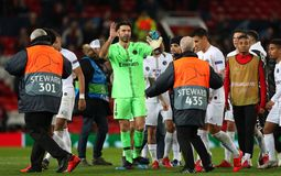 Manchester United v Paris Saint-Germain - UEFA Champions League Round of 16: First Leg. MANCHESTER, ENGLAND - FEBRUARY 12 2019: Gianluigi Buffon of PSG during royalty free stock photo