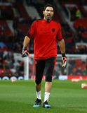 Manchester United v Paris Saint-Germain - UEFA Champions League Round of 16: First Leg. MANCHESTER, ENGLAND - FEBRUARY 12 2019: Gianluigi Buffon of PSG during royalty free stock photos