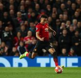 Manchester United v Paris Saint-Germain - UEFA Champions League Round of 16: First Leg. MANCHESTER, ENGLAND - FEBRUARY 12 2019: Jesse Lingard of Manchester stock images