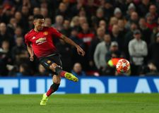 Manchester United v Paris Saint-Germain - UEFA Champions League Round of 16: First Leg. MANCHESTER, ENGLAND - FEBRUARY 12 2019: Jesse Lingard of Manchester royalty free stock image