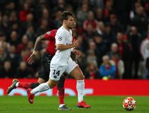 Manchester United v Paris Saint-Germain - UEFA Champions League Round of 16: First Leg. MANCHESTER, ENGLAND - FEBRUARY 12 2019: Juan Bernat of PSG during the stock image
