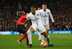 Manchester United v Paris Saint-Germain - UEFA Champions League Round of 16: First Leg. MANCHESTER, ENGLAND - FEBRUARY 12 2019: Kylian Mbappe of PSG during the royalty free stock photography
