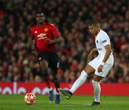 Manchester United v Paris Saint-Germain - UEFA Champions League Round of 16: First Leg. MANCHESTER, ENGLAND - FEBRUARY 12 2019: Kylian Mbappe of PSG during the stock photography